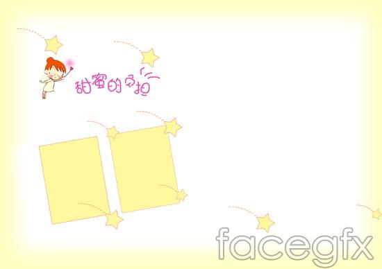 Cartoon baby photo album sweet burden of PSD