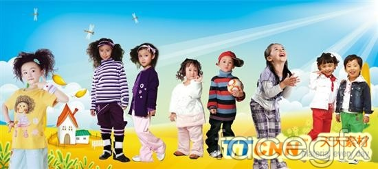 Cute children's clothing models figure of  templates PSD