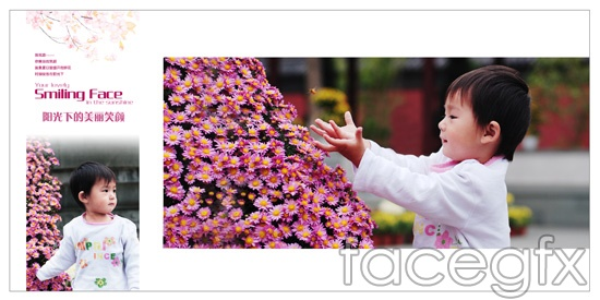 """Happy childhood"" child photo flowers PSD"