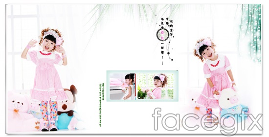 Happy Princess, child art photo template Mickey bear PSD