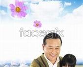 Korea family character blue PSD