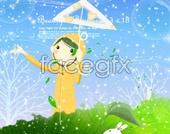 Illustration PSD cartoon little girl stuff
