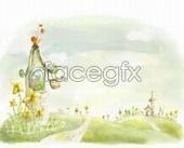 Cute Korean paintings of Illustrator PSD