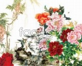 Chinese style painting peonies set footage PSD