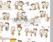 Couples cartoon characters PSD