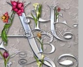 English alphabet letter design and decoration with flower pattern PSD