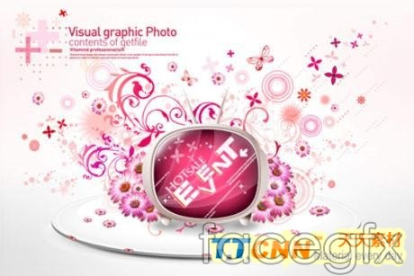 Pink floral decorations TV screen vector PSD