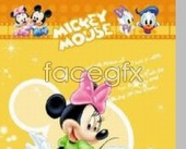 Cute Mickey Mouse Donald Duck cartoon-yellow background PSD