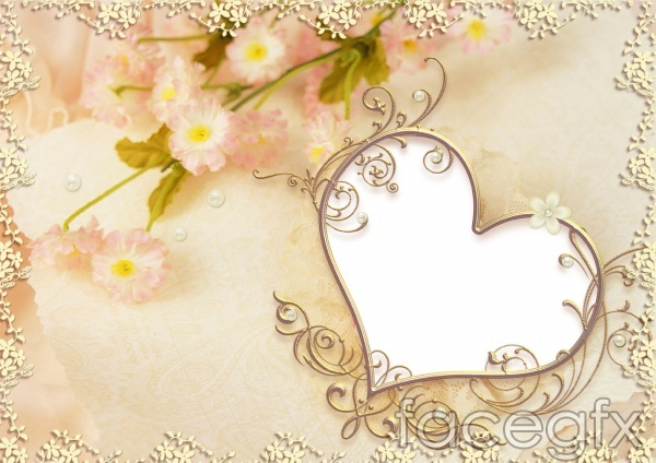 Romantic heart-shaped picture frame PSD