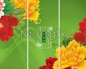 Wealthy Peony moving glass door patterned layering design PSD