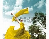Yellow-clad dance fashion girl PSD