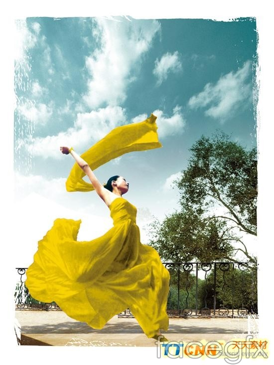 Yellow-clad dance fashion girl PSD