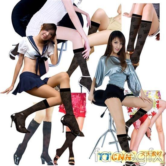 Advertising girl pantyhose legs  templates PSD