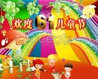 Celebrating the 61 children's design PSD