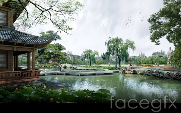 Gardens lakeside landscape renderings Lake design PSD