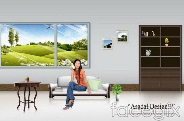 King seated design home decoration effect drawing of window layering templates PSD