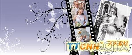 Romantic wedding photography template PSD