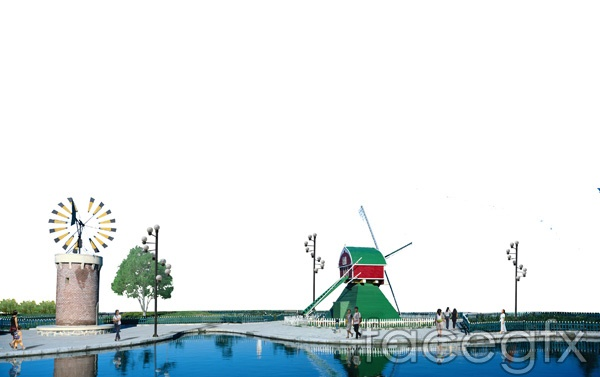 Real estate later PS community sculpture windmill effect design  source files PSD