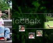 """Happy childhood"" boy child photo PSD"