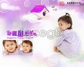 Charm photo album spreads childhood House template PSD