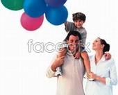 Happy family of three balloons abroad PSD