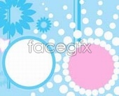 Little angel child stars in a circle template PSD