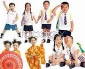 Cute Korea pupils  templates PSD
