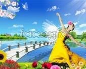 Dance room lakeside beauty bridge Lake sunflower PSD