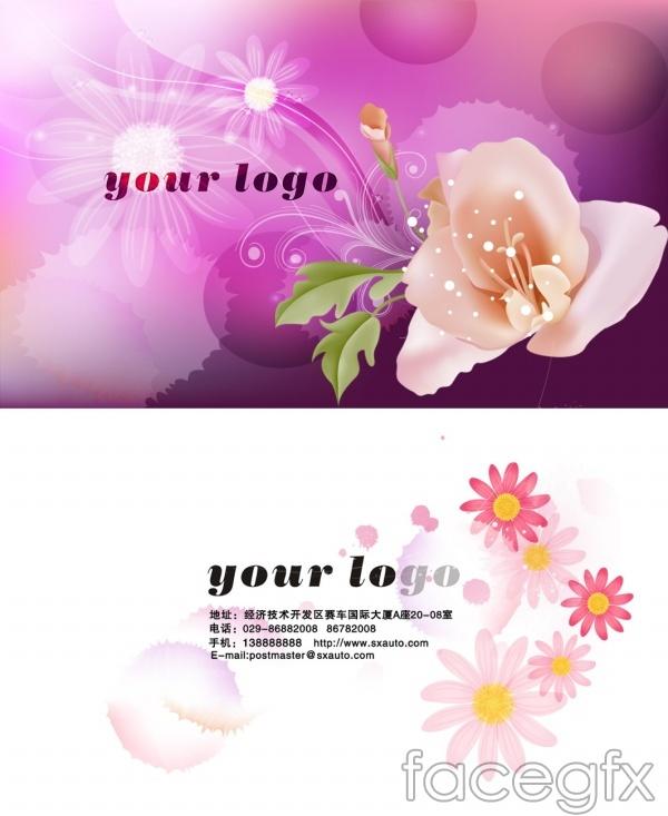 Beautiful flower design business card PSD template