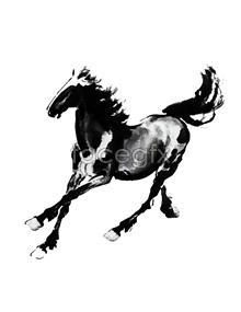 Xu Beihong running horse figure ink painting PSD
