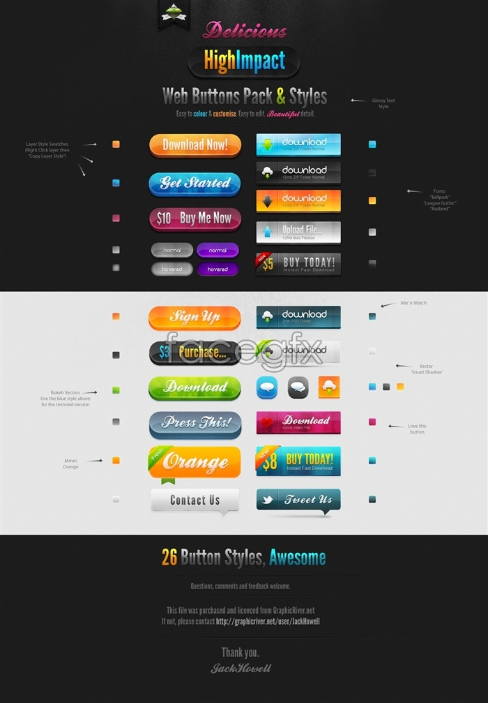 Colorful web buttons style design PSD