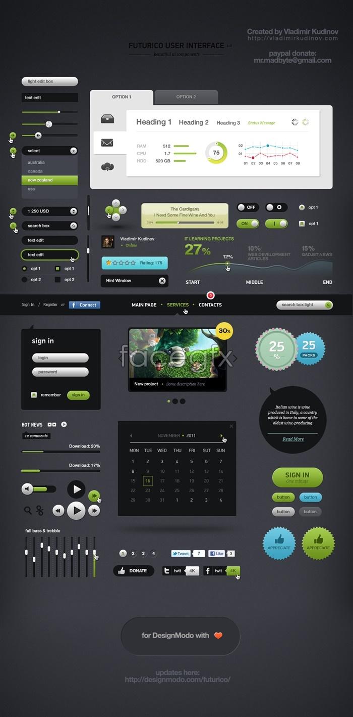 Complete Web UI design source PSD