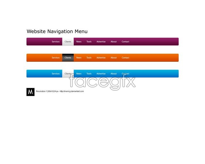 Creative navigation PSD