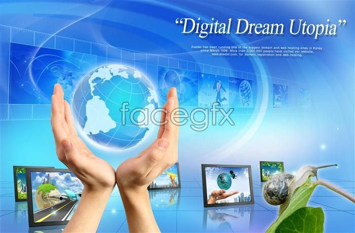 Digital technology theme hands holding the Earth display PSD