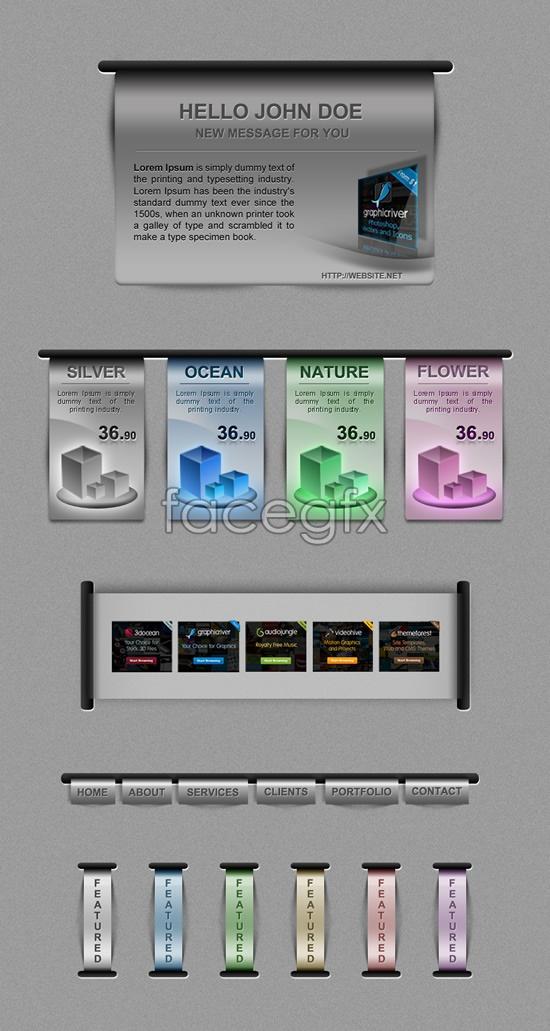Silver Web design elements PSD