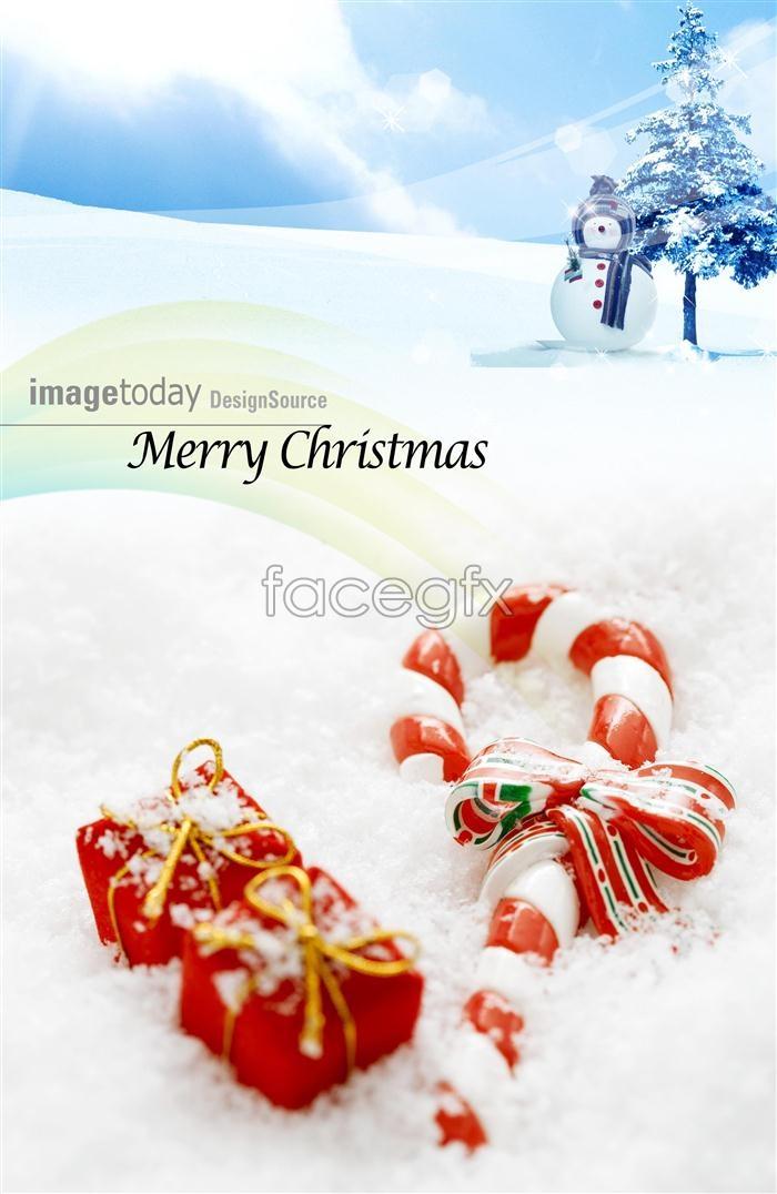 Snow Christmas gift snowman template PSD