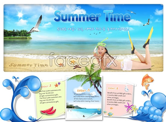 Summer site home-screen interface PSD