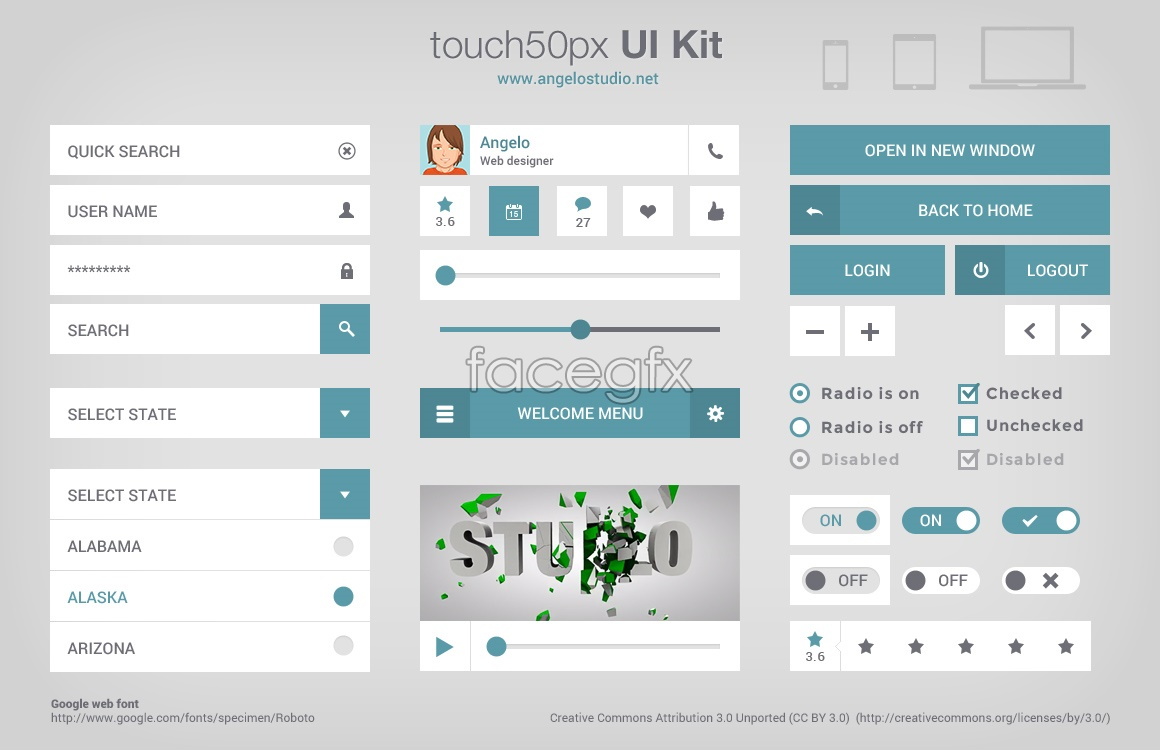Touch 50px UI Kit