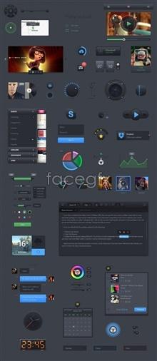 Web site UI design theme pack PSD