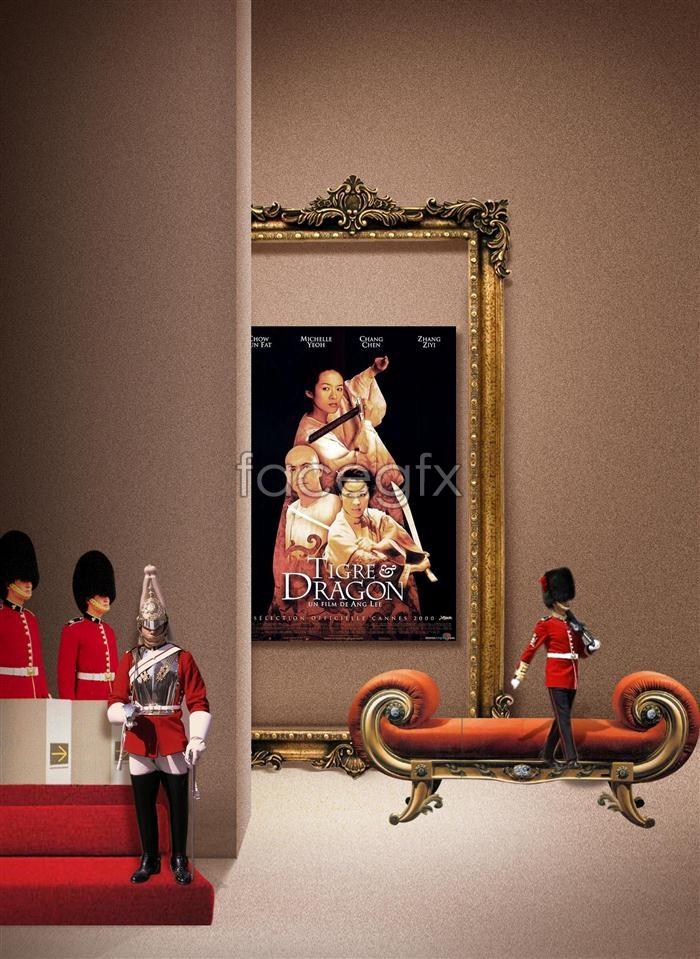 Film Crouching Tiger, Hidden Dragon poster photo frame template PSD
