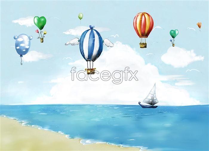 Hand-painted style hot air balloon Beach sea boat PSD