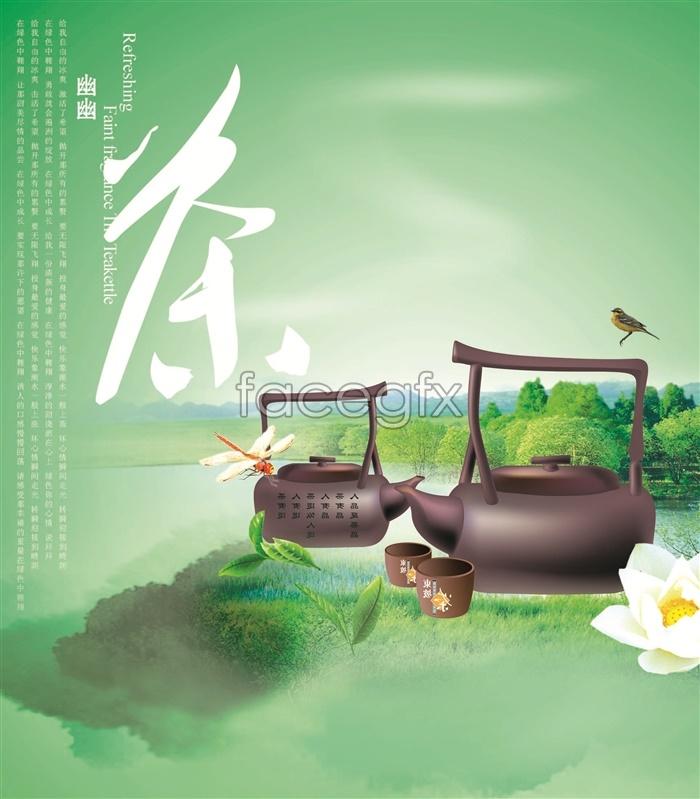 Faint green tea poster design templates PSD