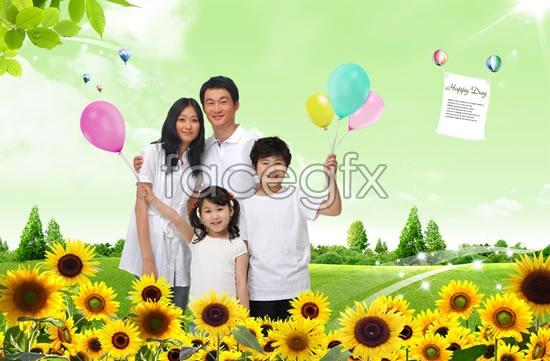 Happy home life photos PSD