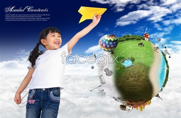 Korea dream fantasy background children take off figures template PSD