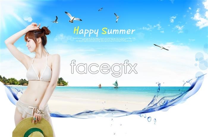 Romantic beach bikini beautiful PSD people pictures