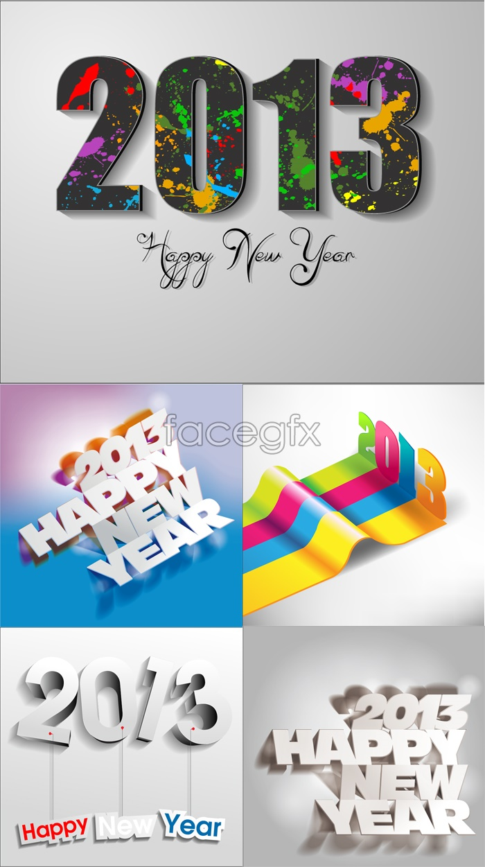 2013 new year creative fonts and creative background vector map PSD
