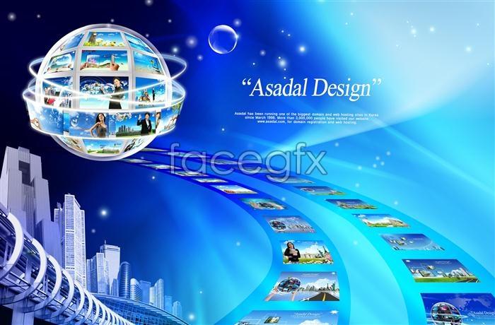 Digital technology theme Halo around Earth city PSD