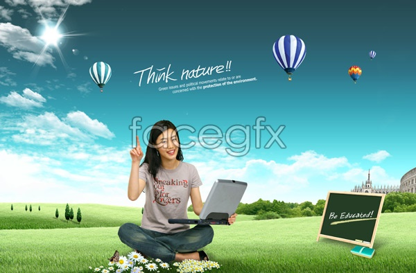 Female outdoor leisure PSD