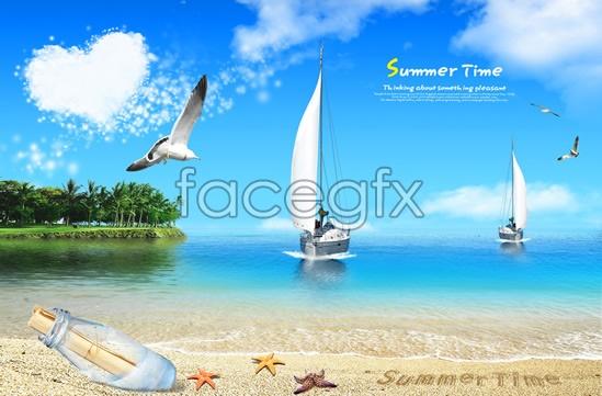 Fresh summer ocean views PSD