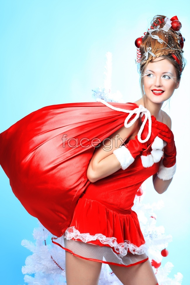 Christmas beauty backs a big red bag pictures PSD